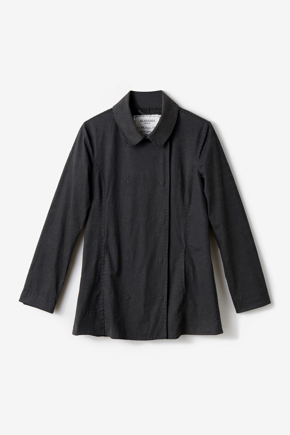 Alabama Chanin The Peacoat Hand Sewn and Hand-painted Women's Peacoat in Black