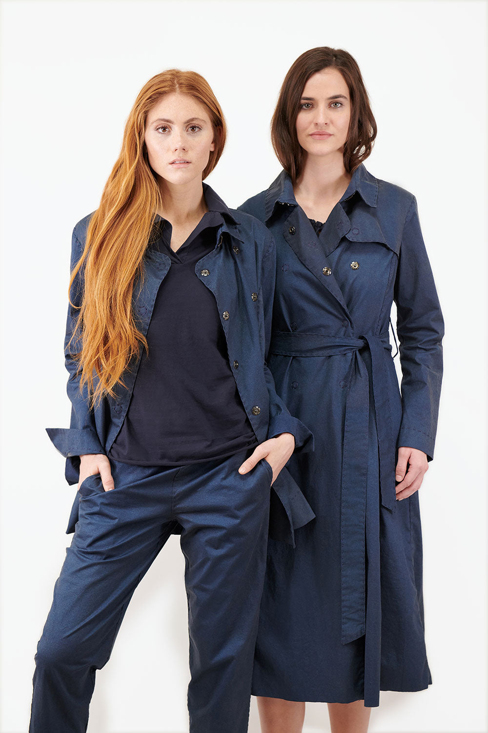 alabama chanin the polo hand sewn polo top in navy styled on model
