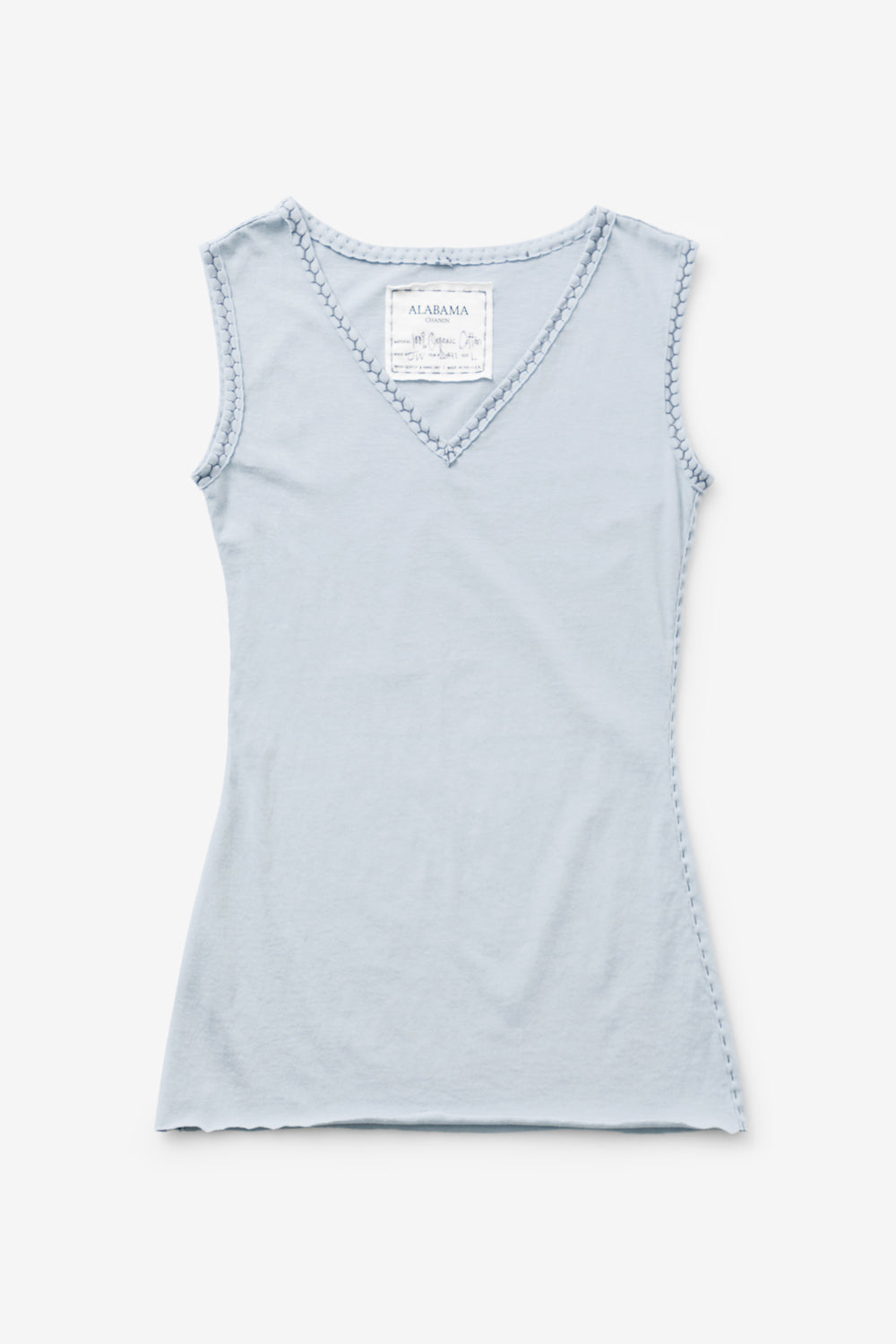 Alabama Chanin 100% Organic Cotton Top with V-Neck in Light Blue