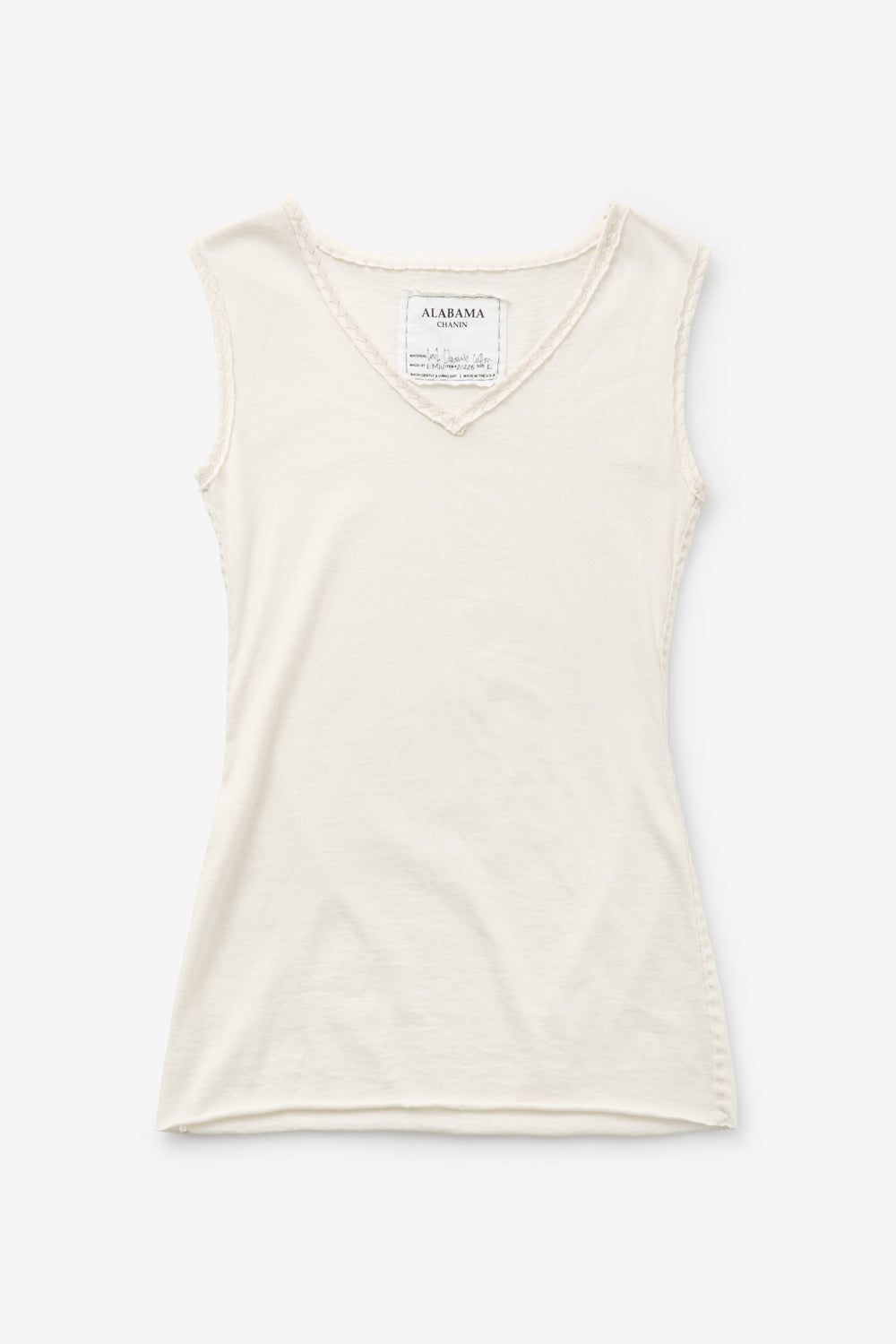 Alabama Chanin 100% Organic Cotton Top with V-Neck in Natural