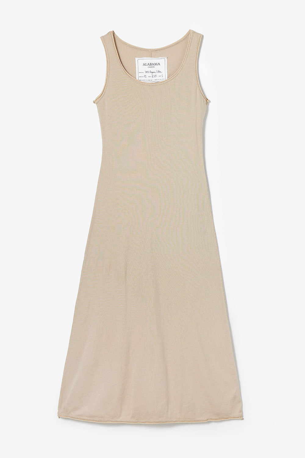 Alabama Chanin The Slip Dress Women's Slip Dress with Rounded Neck in Tan
