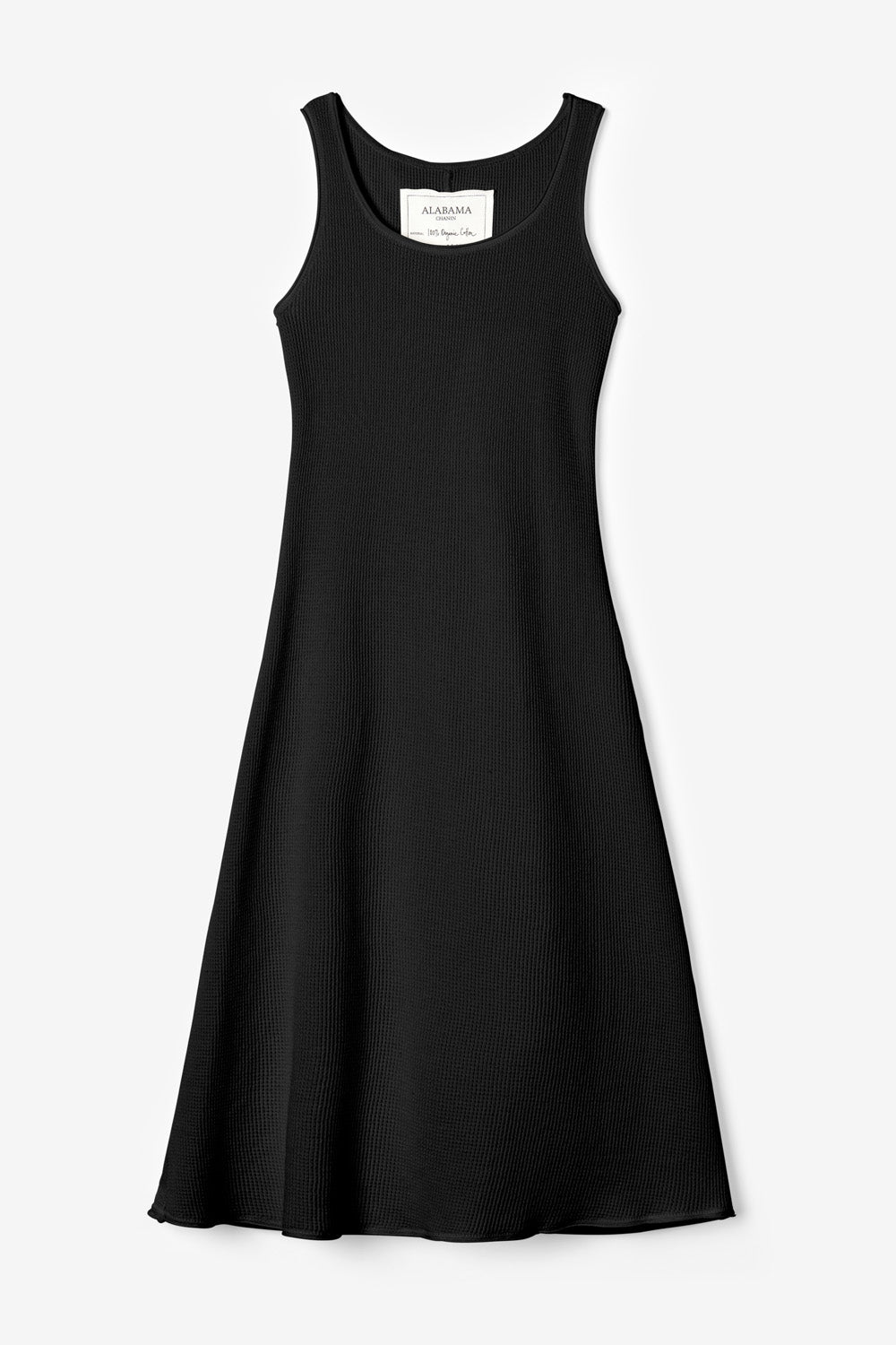 Alabama Chanin The Slip Dress Organic Cotton Fitted Dress in Black