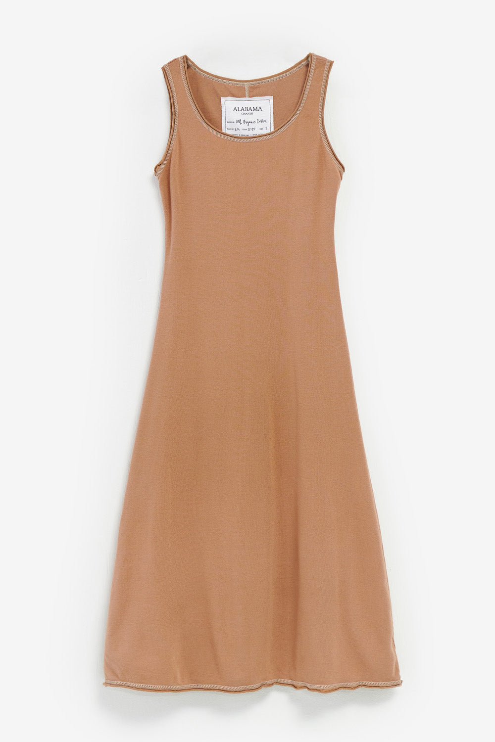 Alabama Chanin The Slip Dress Women's Slip Dress with Rounded Neck in Camel