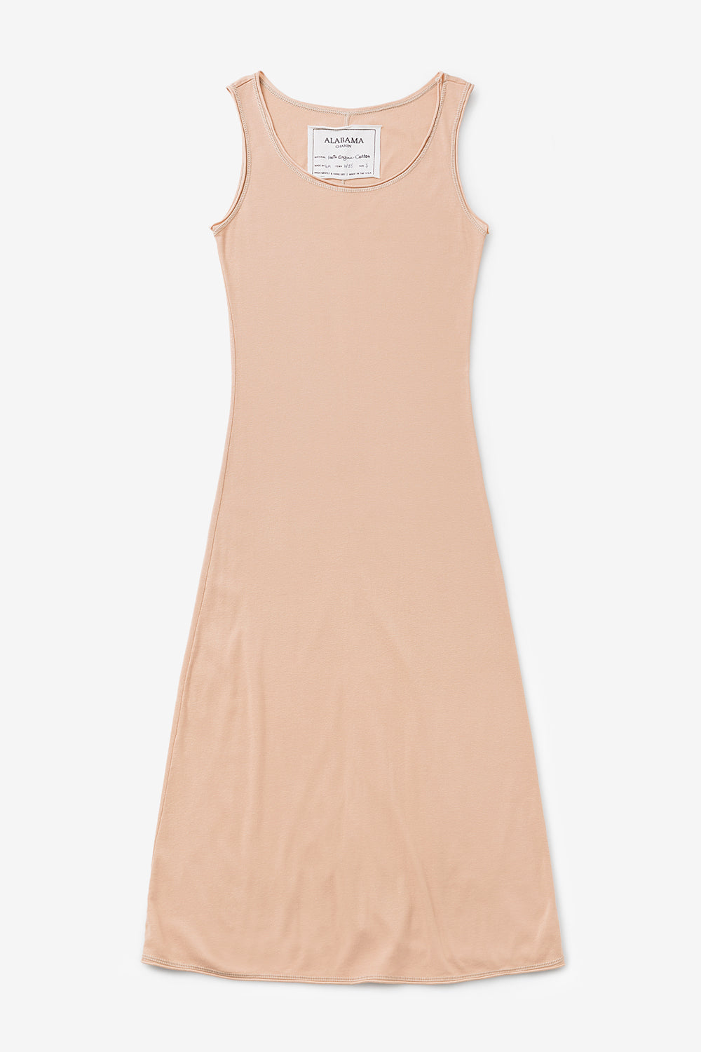 Alabama Chanin The Slip Dress Organic Cotton Fitted Dress in Vetiver Soft Rib Knit