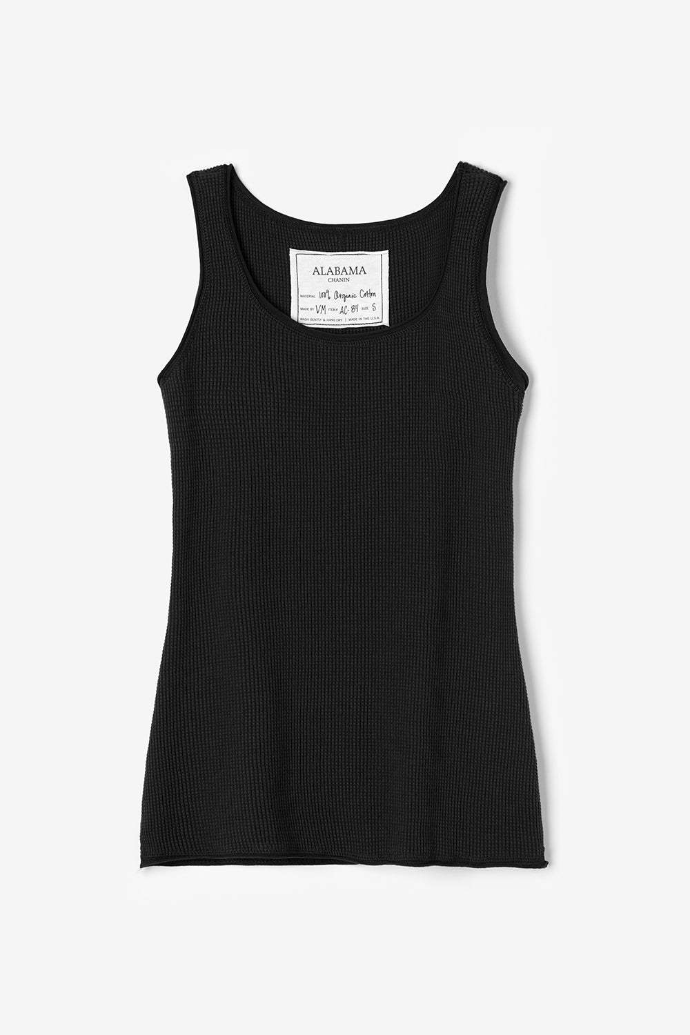 Alabama Chanin The Tank Sleeveless Waffle Knit Black Top