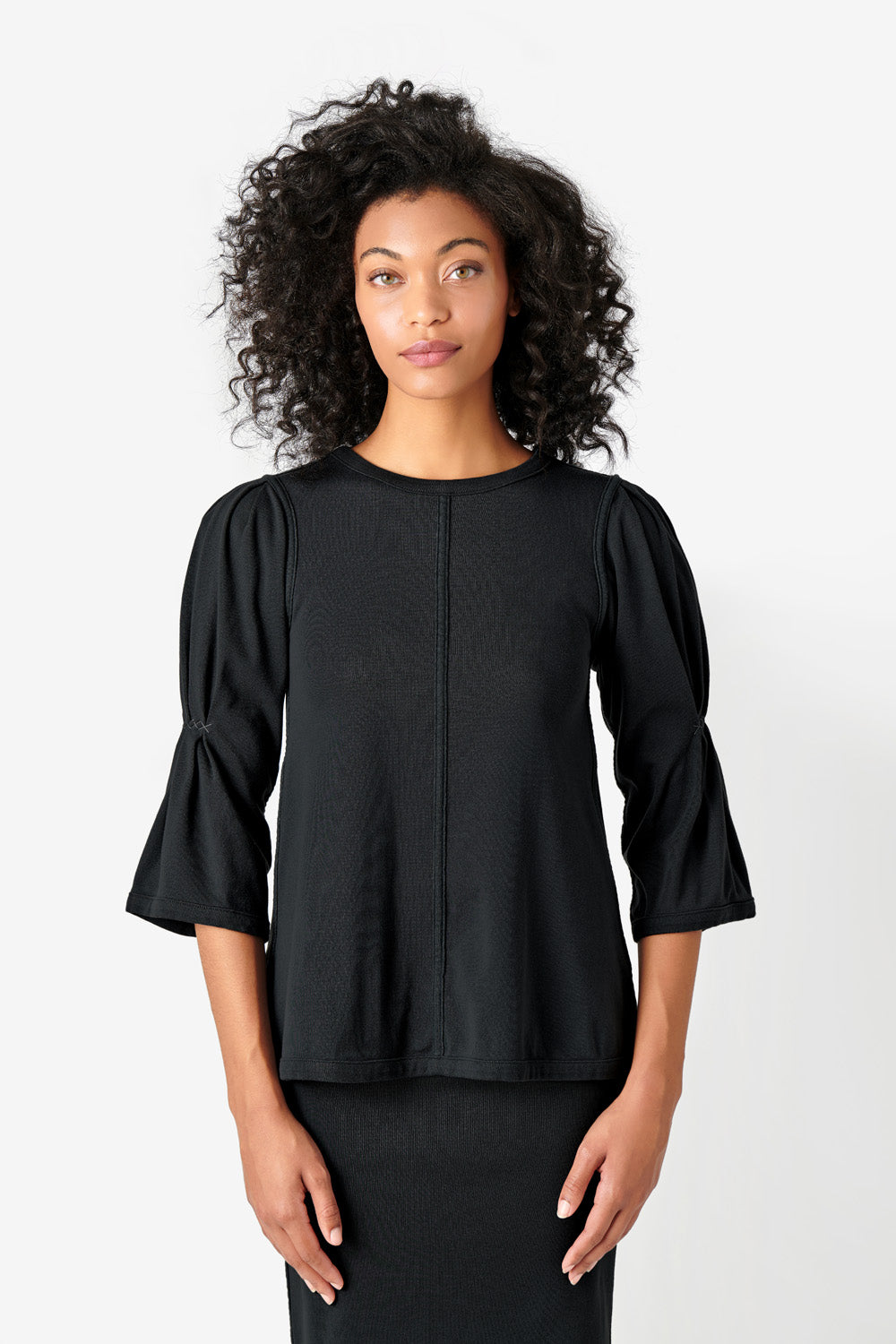 Alabama Chanin Willie Top Organic Cotton Elbow Sleeve top in Black on Model