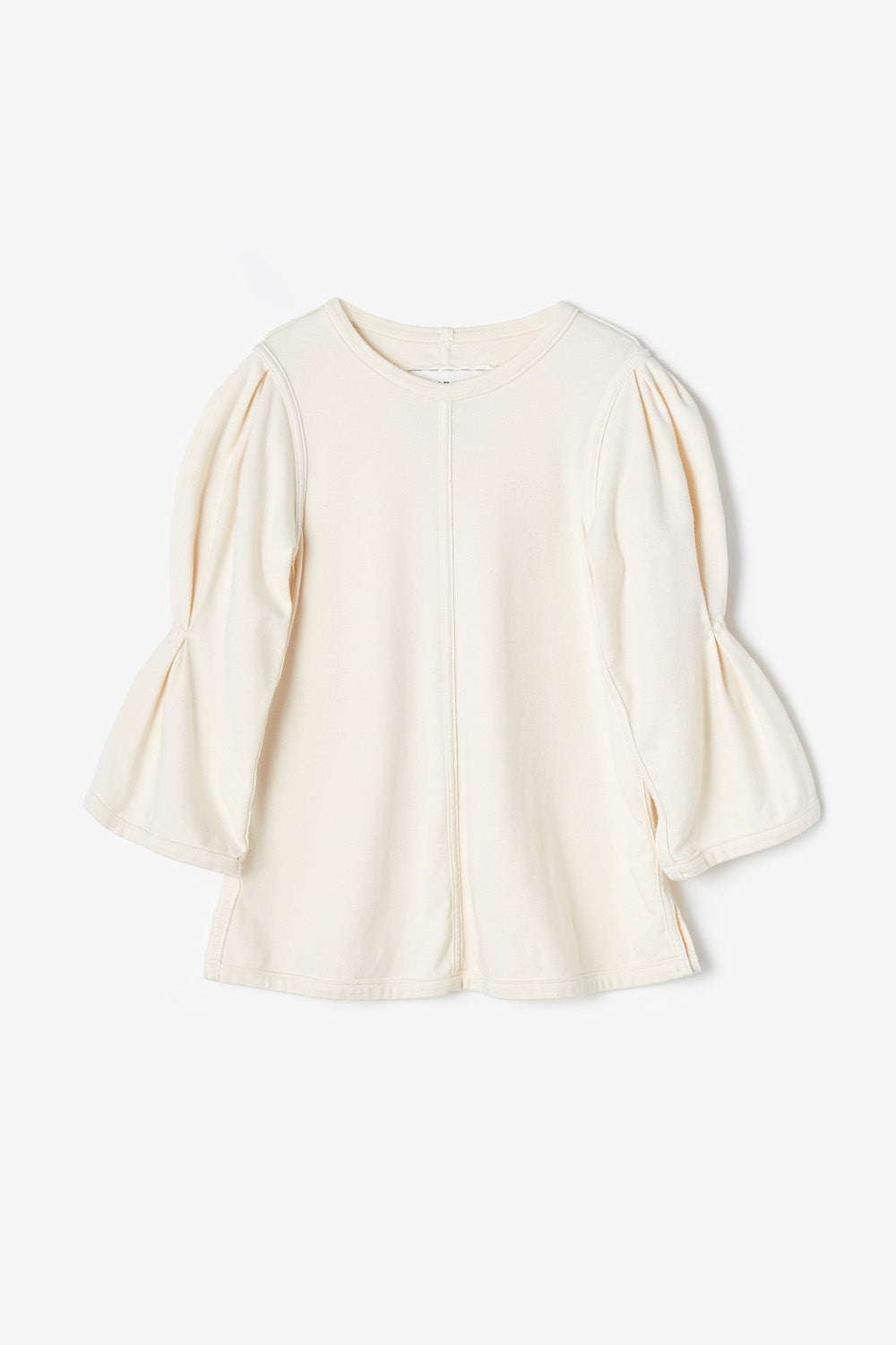 Alabama Chanin Willie Top Machine sewn top with Elbow Sleeve in Natural