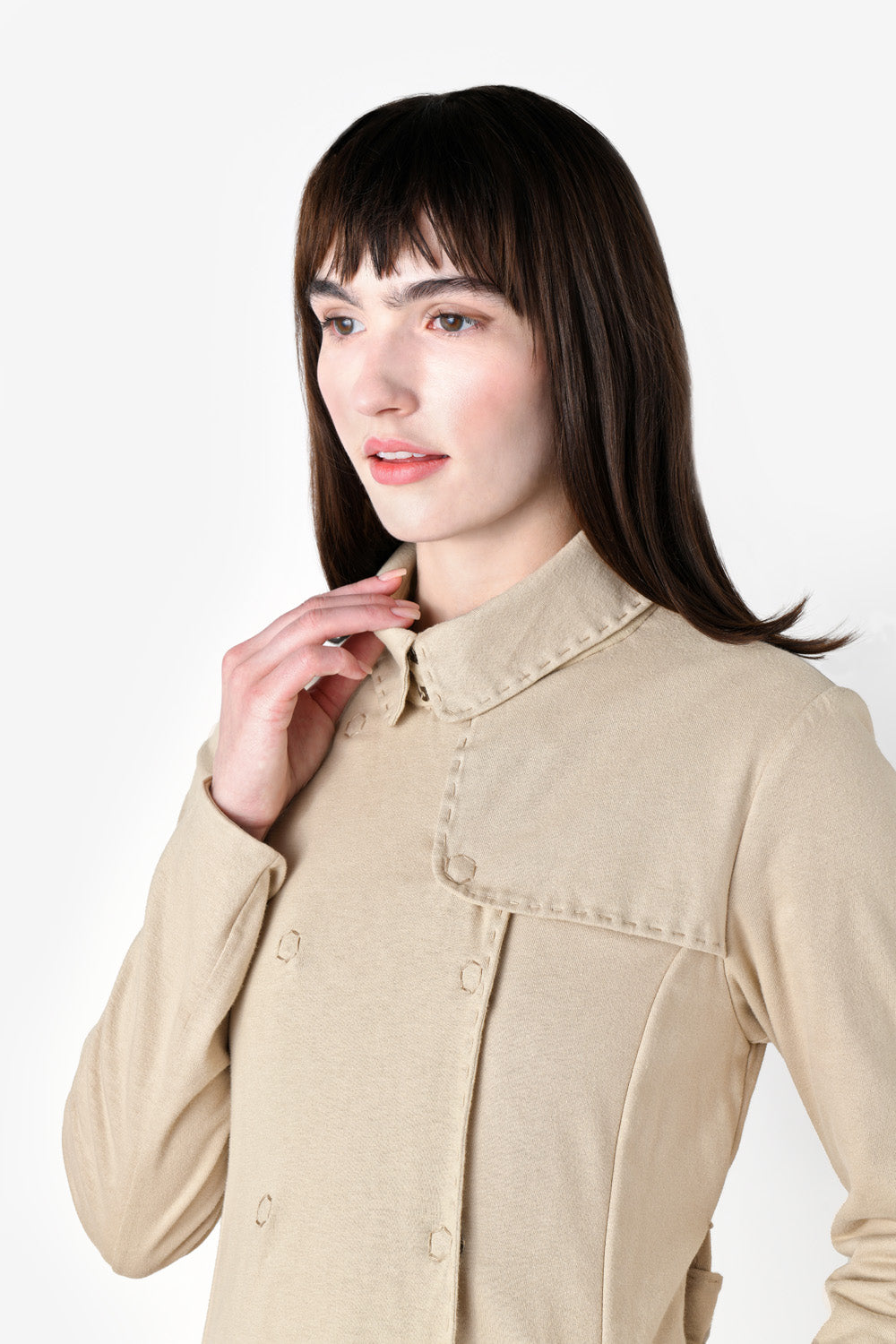 alabama chanin the trench coat fitted handsewn outerwear on model