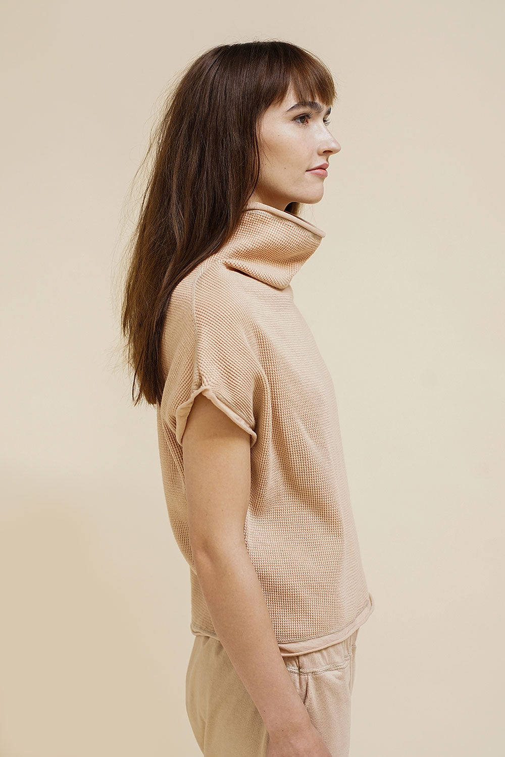 Alabama Chanin The Waffle Sweatshirt Women's Pull On Top with Short Sleeves and Funnel Neck in Pink