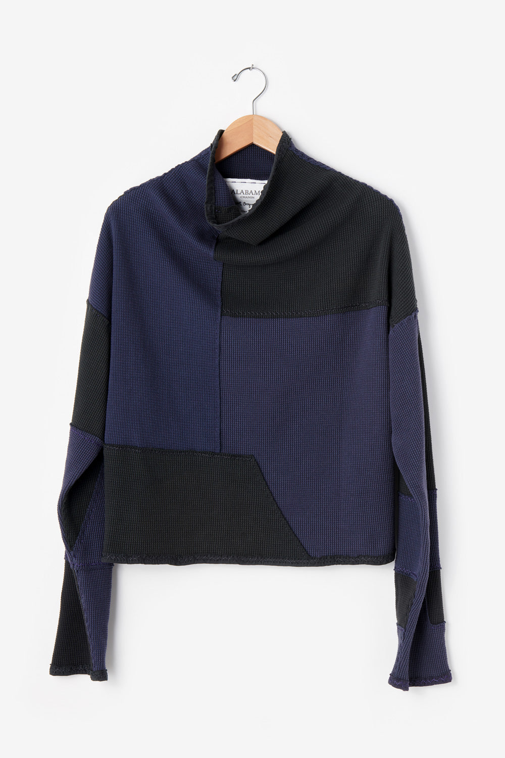 Alabama Chanin Artisan Designed Zero Waste Waffle Sweatshirt in Back and Navy 100% Organic Cotton Waffle Knit Sewn by Artisans One-of-a-Kind Designs 30493