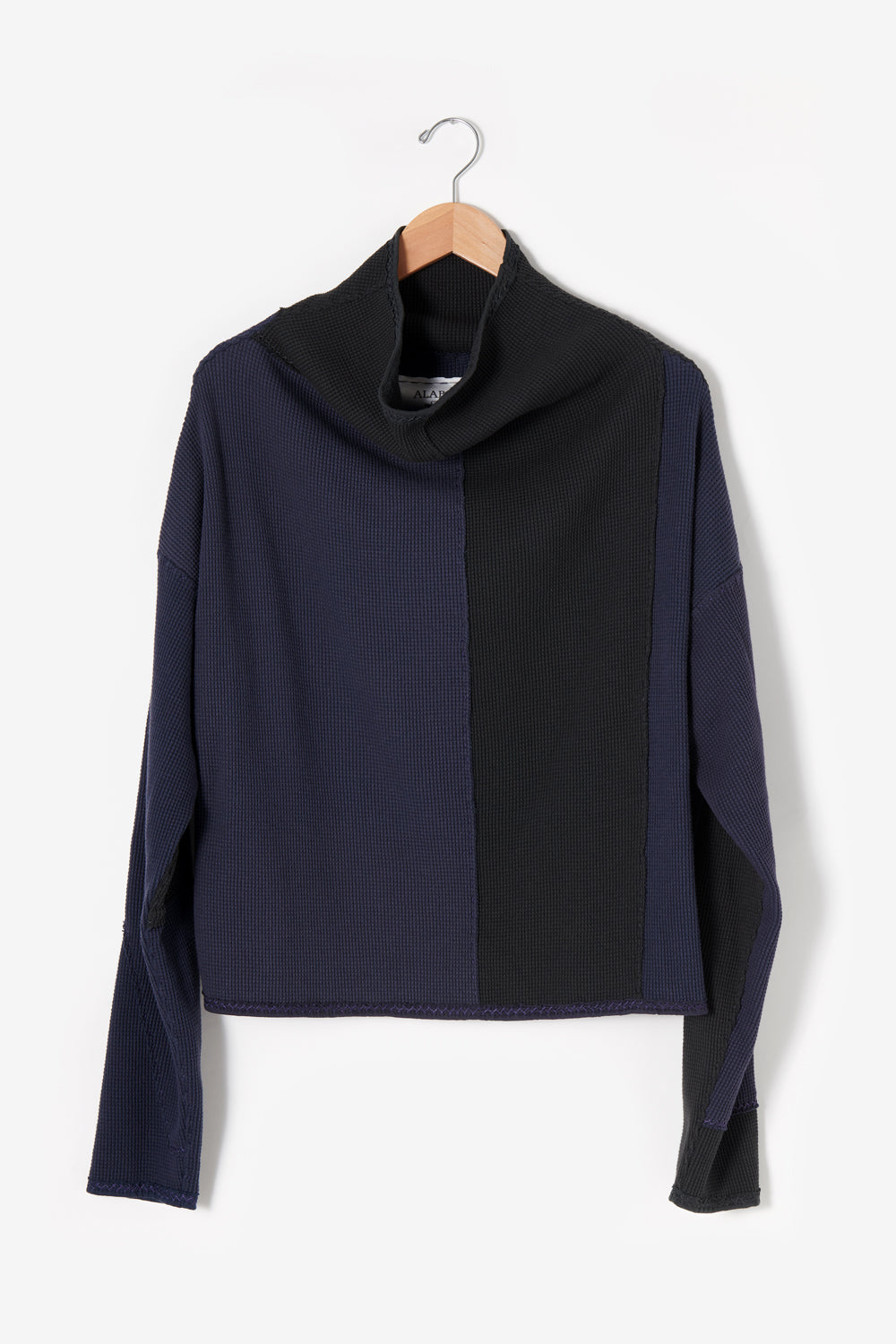 Alabama Chanin Artisan Designed Zero Waste Waffle Sweatshirt in Back and Navy 100% Organic Cotton Waffle Knit Sewn by Artisans One-of-a-Kind Designs 30465
