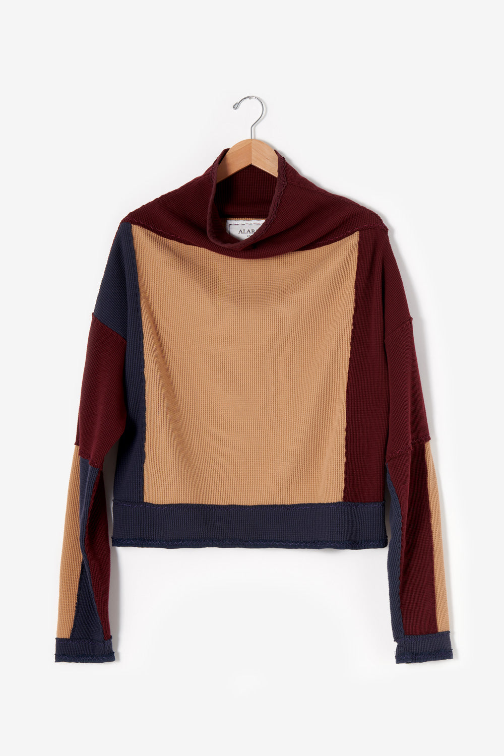Alabama Chanin Artisan-Designed Zero Waste Waffle Sweatshirt in Camel and Navy Organic Cotton Waffle and Heavy-weight rib in Plum One-of-a-kind