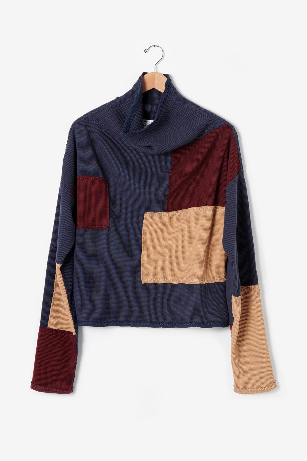 Alabama Chanin Artisan-Designed Zero Waste Waffle Sweatshirt in Camel and Navy Organic Cotton Waffle and Heavy-weight rib in Plum One-of-a-Kind #30461