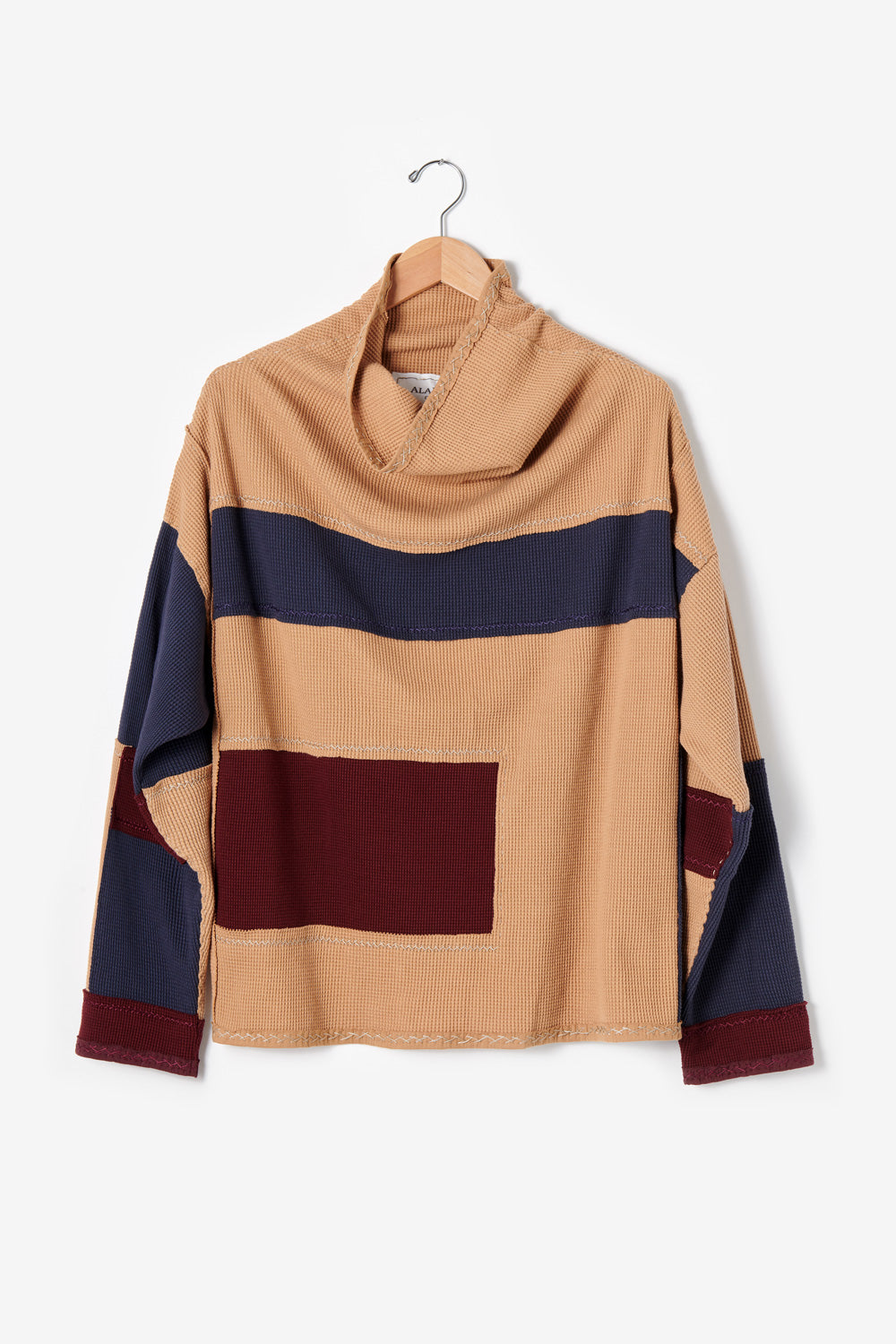 Alabama Chanin Artisan-Designed Zero Waste Waffle Sweatshirt in Camel and Navy Organic Cotton Waffle and Heavy-weight rib in Plum One-of-a-kind #30453