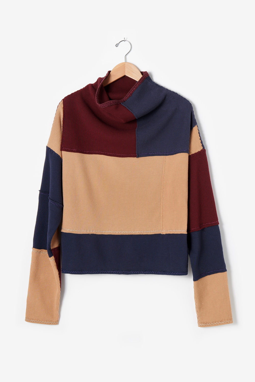 Alabama Chanin Artisan-Designed Zero Waste Waffle Sweatshirt in Camel and Navy Organic Cotton Waffle and Heavy-weight rib in Plum One-of-a-Kind #30460