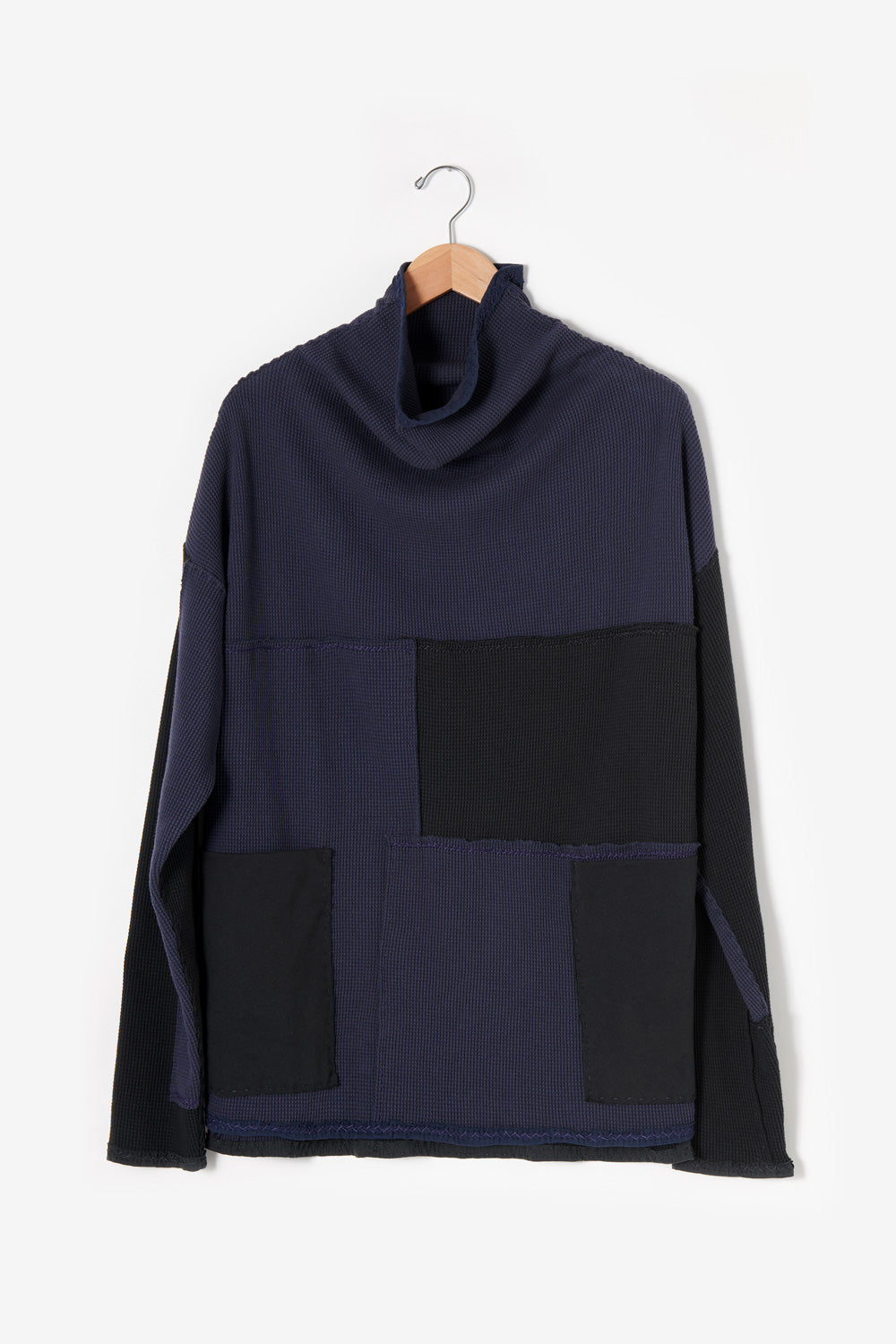 Alabama Chanin #30501 Zero Waste Waffle Tunic in Navy and Black 100% Organic Cotton Waffle Knit Sewn By Artisans as One-of-a-Kind Designs