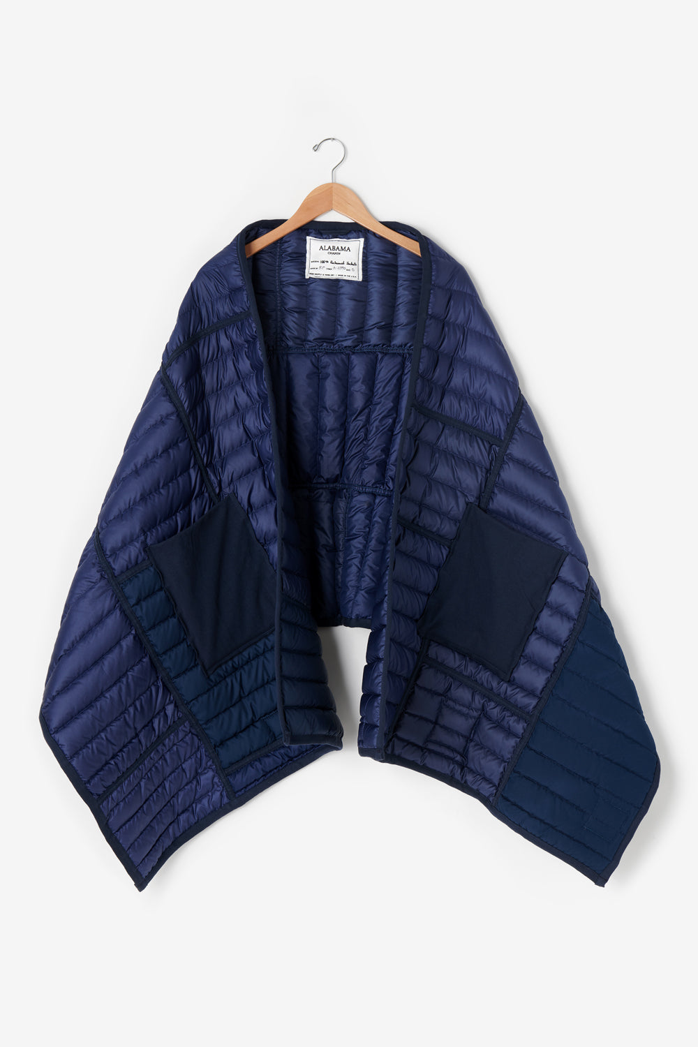 Alabama Chanin Reclaimed Down Wrap in Navy Upcycled Sustainably in the USA