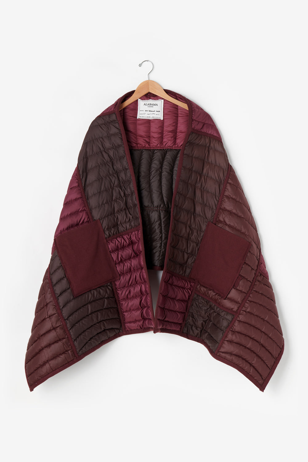 Alabama Chanin Reclaimed Down Wrap in Plum from Upcycled Down Jackets Women's Insulated Large Scarf