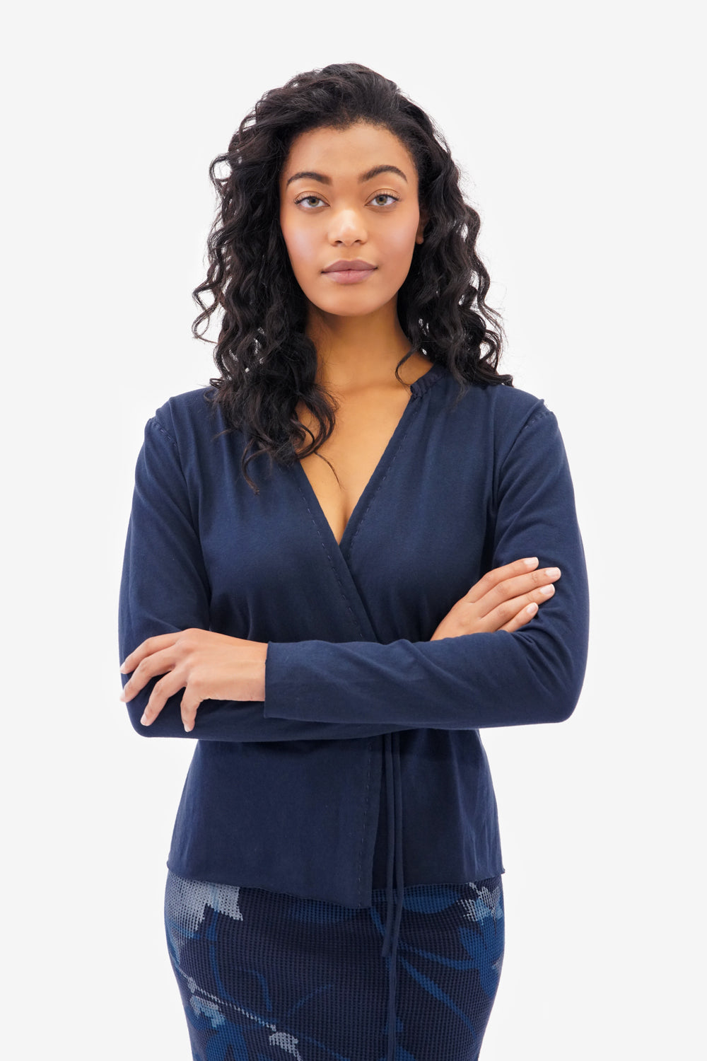 Alabama Chanin The Wrap Top Handsewn in Navy