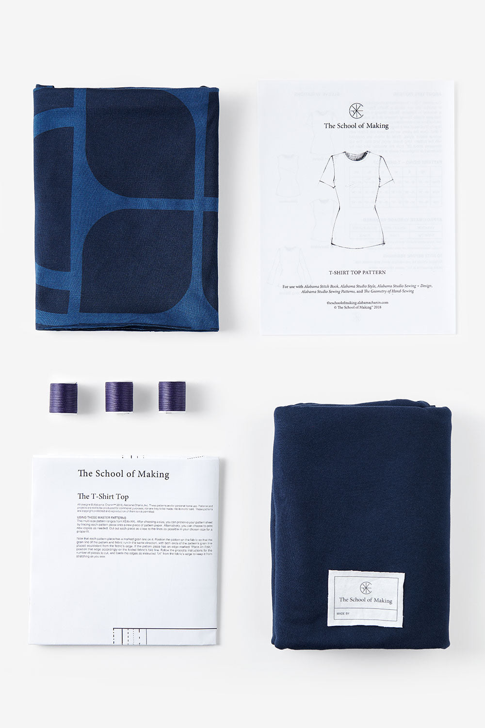 The School of Making Abstract Bundle 100% Organic Cotton Fabric and Pattern for Hand Sewing DIY Clothing
