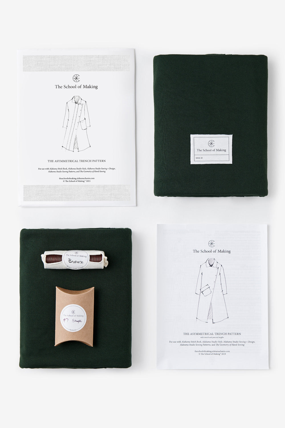 the school of making asymmetrical peacoat bundle in forest organic cotton hand sewing