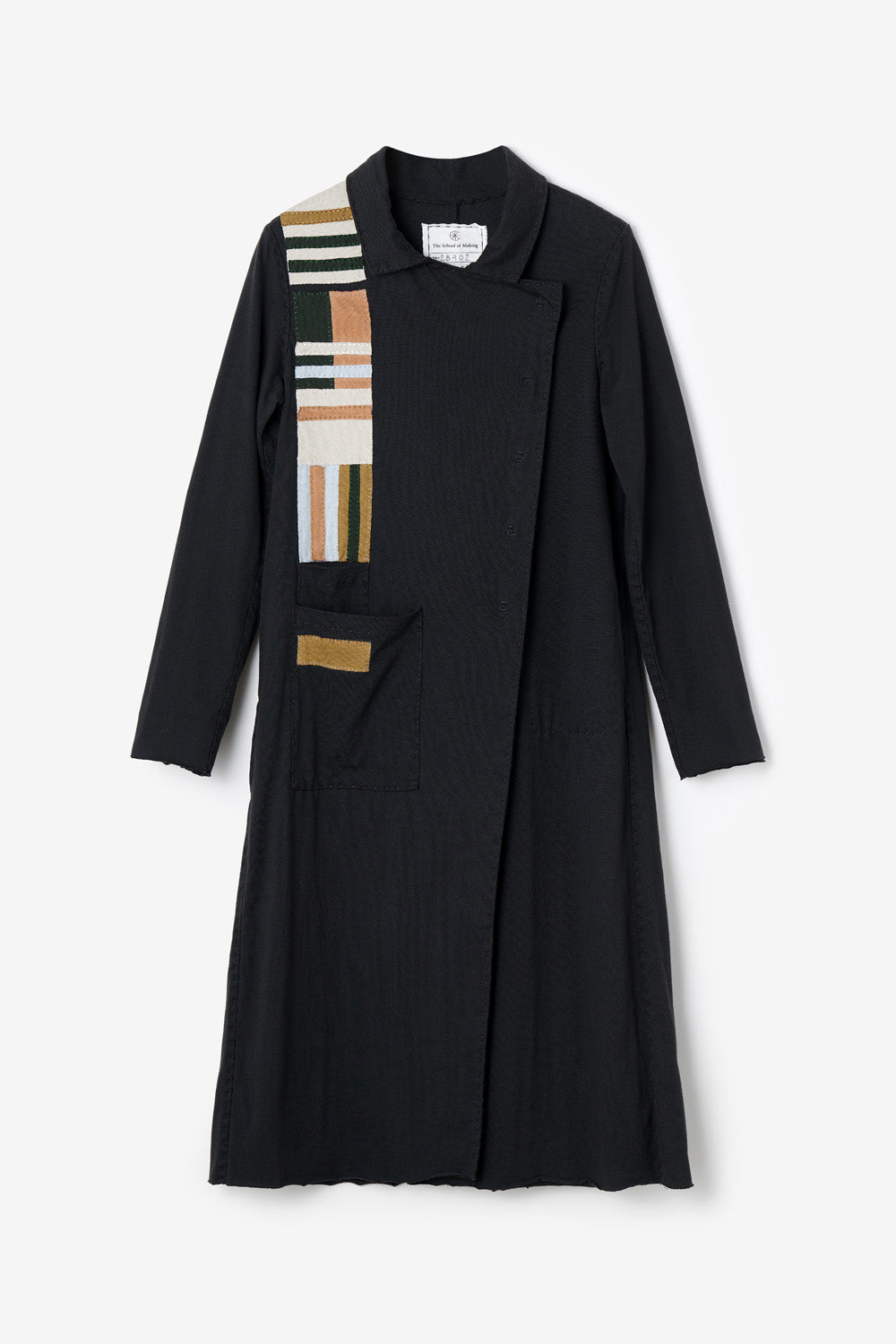 The School of Making Asymmetrical Trench Bundle Hand-Sewn Coat with Colorblock Applique