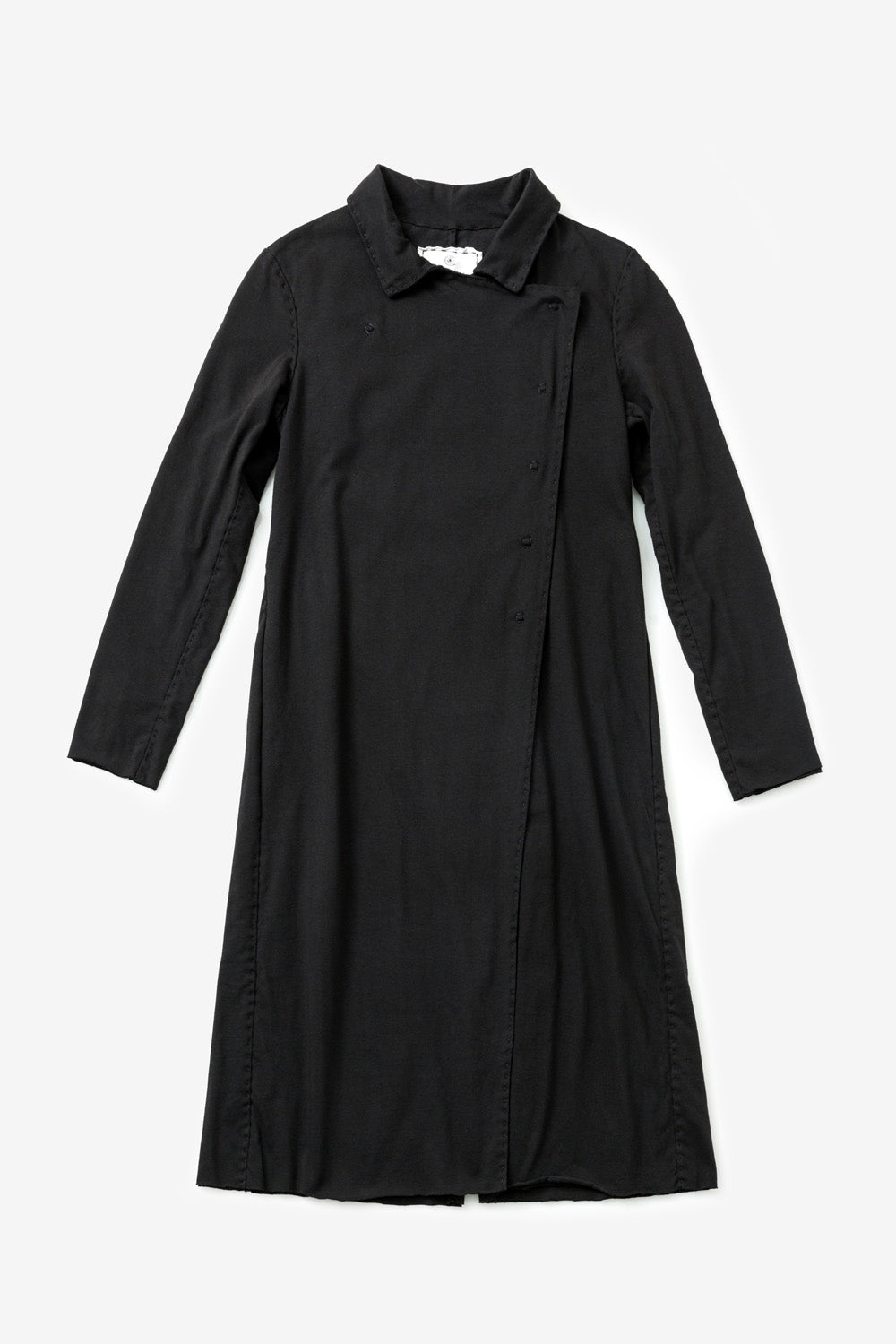 The School of Making The Asymmetrical Trench Kit Organic Cotton Trench Coat with Collar and Long Sleeves in Black