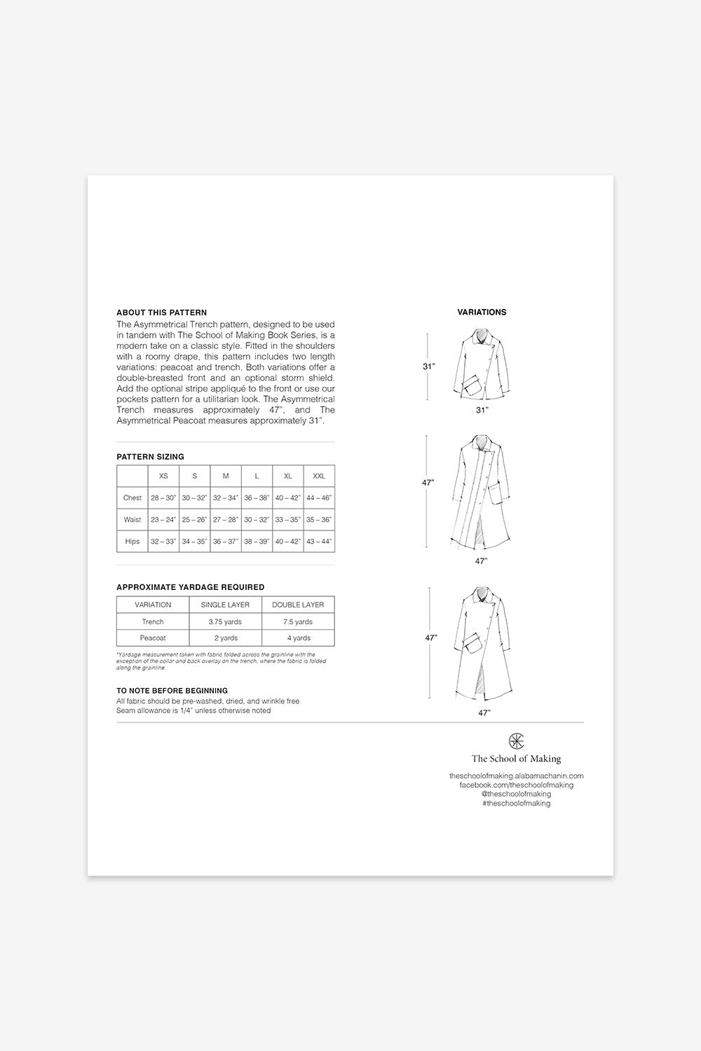 The School of Making The Asymmetrical Trench Pattern Maker Supplies for DIY Clothing
