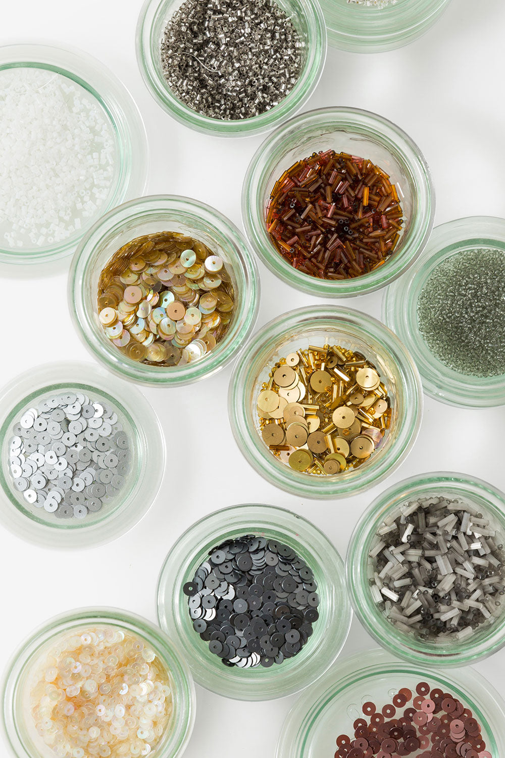 The School of Making Bead Sampler Assorted Beads in Glass Weck jars