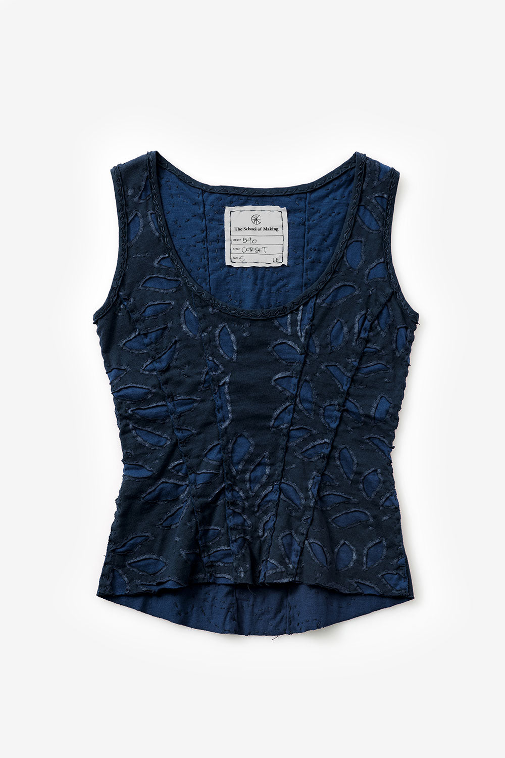 The School of Making Bloomers Stencil Floral Stencil on Hand-Sewn Top in Black and Navy