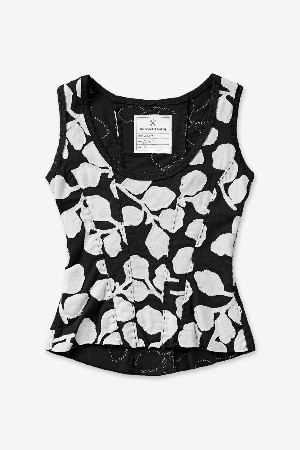 The School of Making New Leaves Corset in Black/White Leaves Pattern