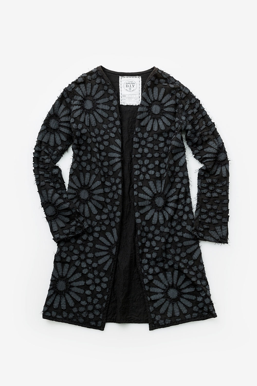 The School of Making Facets Stencil Abstract Floral Stencil Design Hand Painted DIY Clothing Jacket in Black