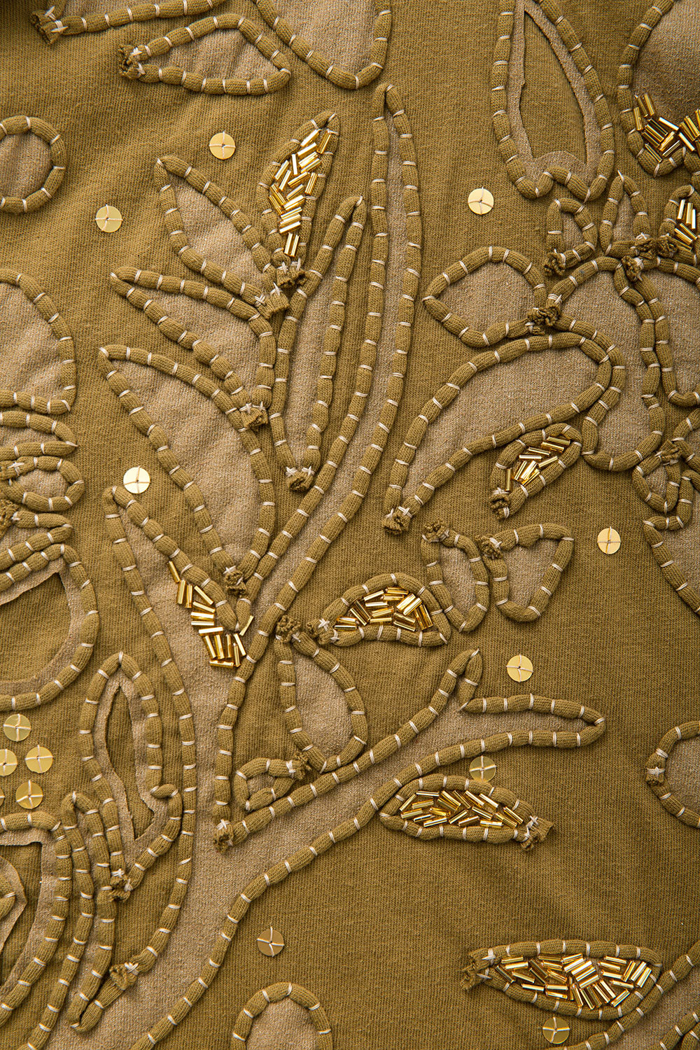 The School of Making Large Paradise Stencil Embellished Hand-Sewn and Hand-Painted Floral Design in Amber