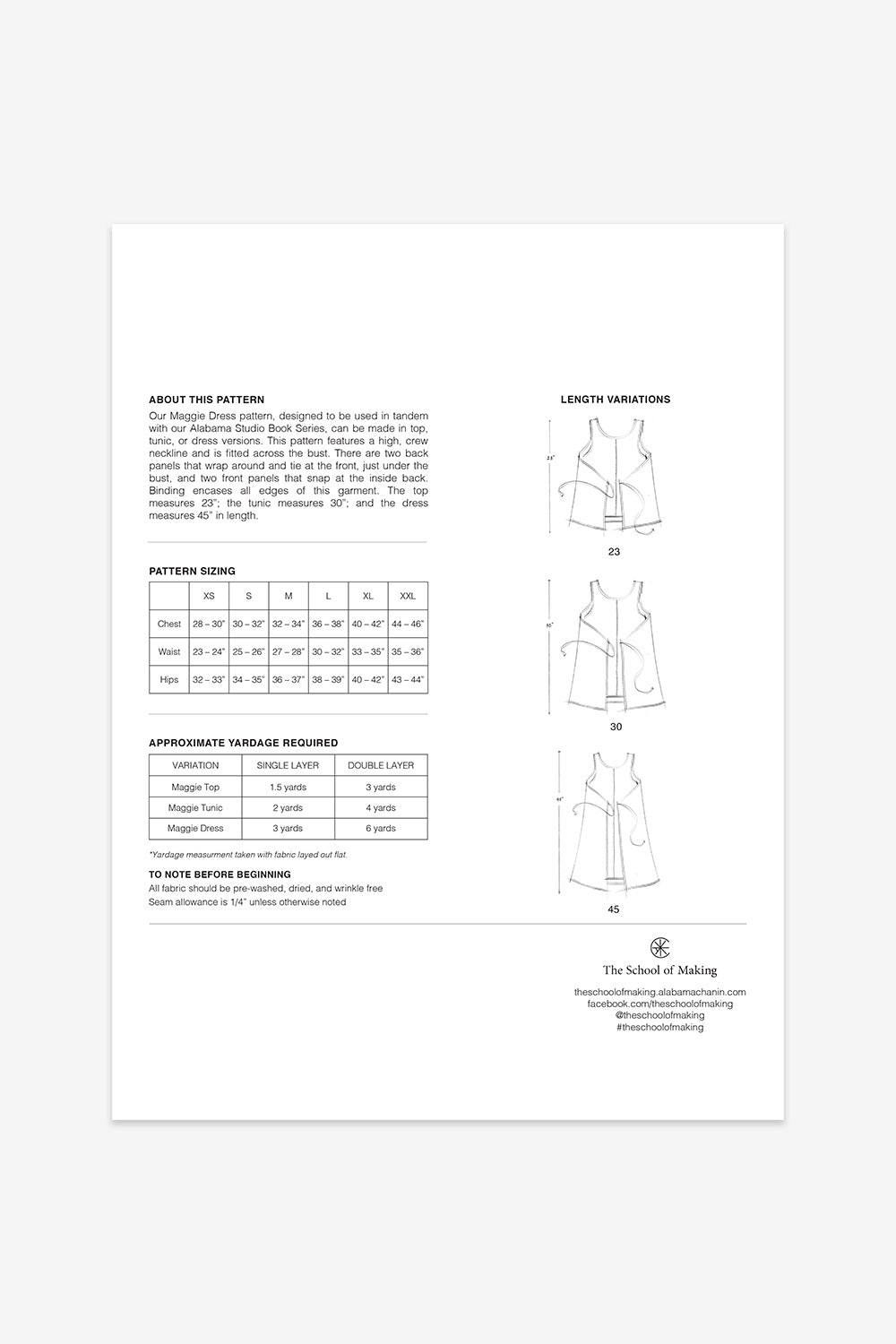 The School of Making Maggie Dress Pattern for Makers Sewing Projects