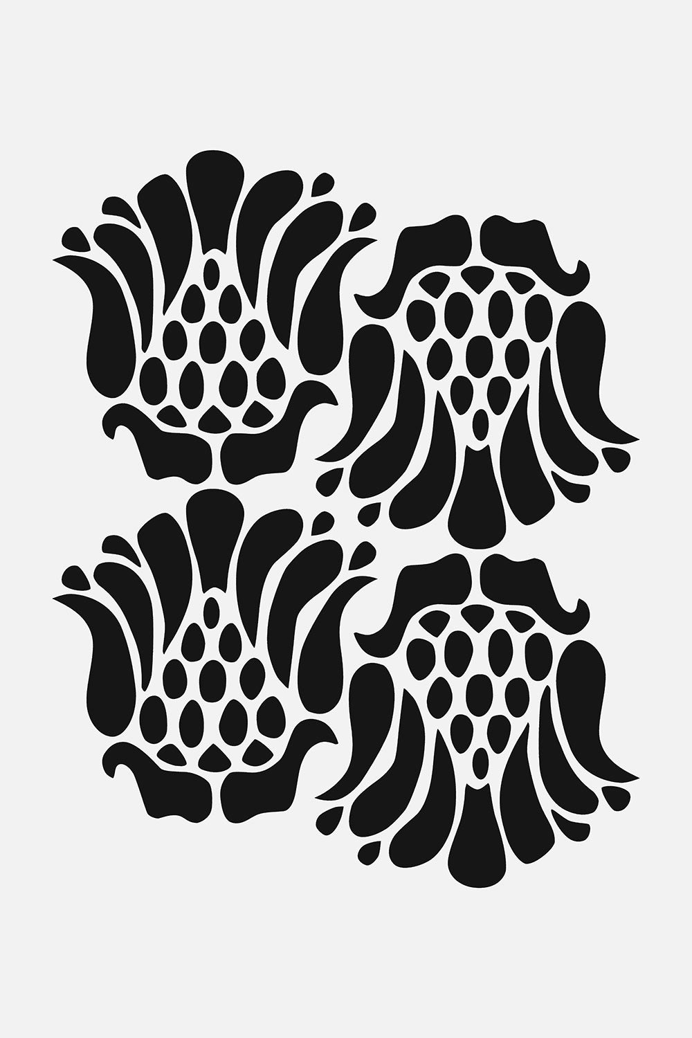The School of Making Marie Stencil Floral Stencil Design for Hand-Painted Clothing Projects in Black and White