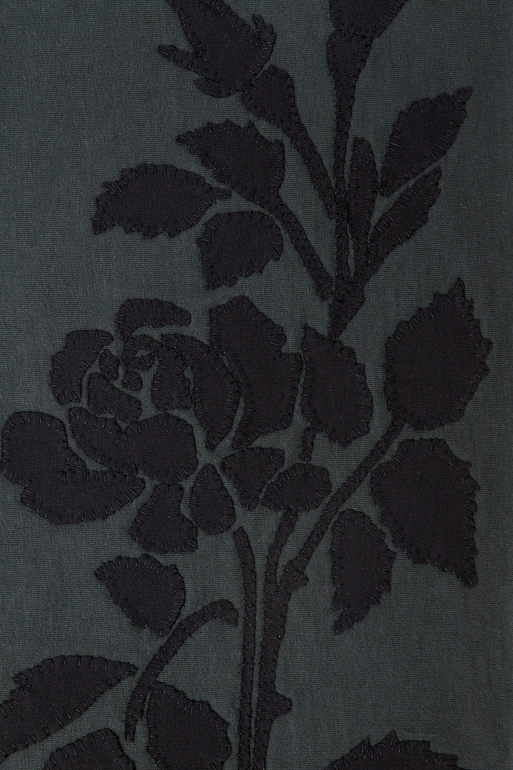 The School of Making Rose Placement Stencil hand-sewn in grey organic cotton and black applique