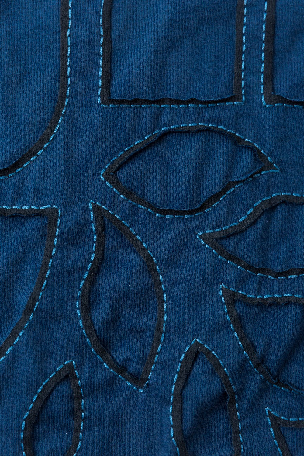 alabama chanin organic cotton in blue stenciled with embroidery floss