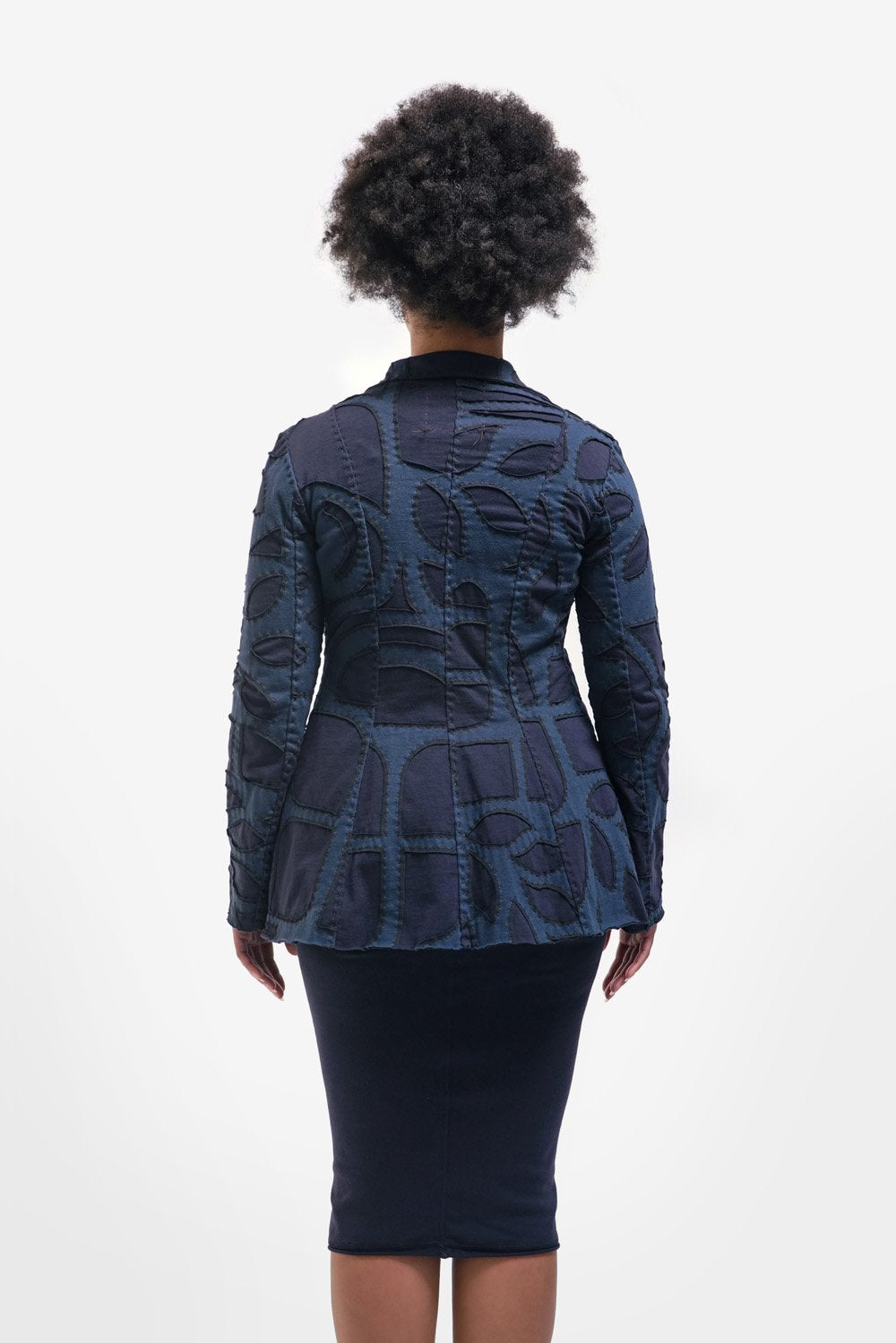 alabama chanin jacket with collar in blue with long sleeves made from organic cotton