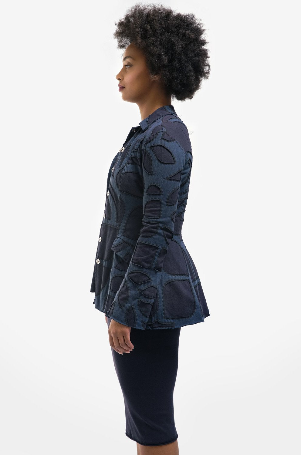 alabama chanin jacket with collar in blue with long sleeves