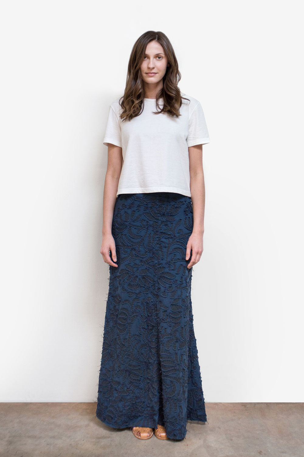 the school of making 100% organic cotton long fitted skirt for women in navy with applique floral print