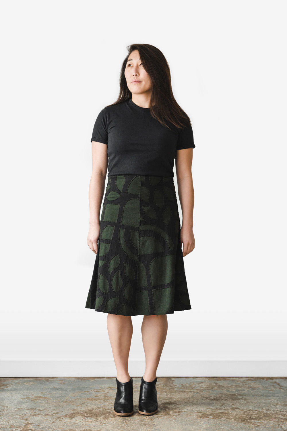 The School of Making Swing Skirt Kit Organic Cotton Abstract Pattern Black on Model