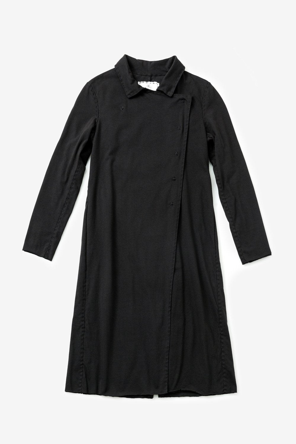 alabama chanin organic cotton trench coat with collar and long sleeves in black
