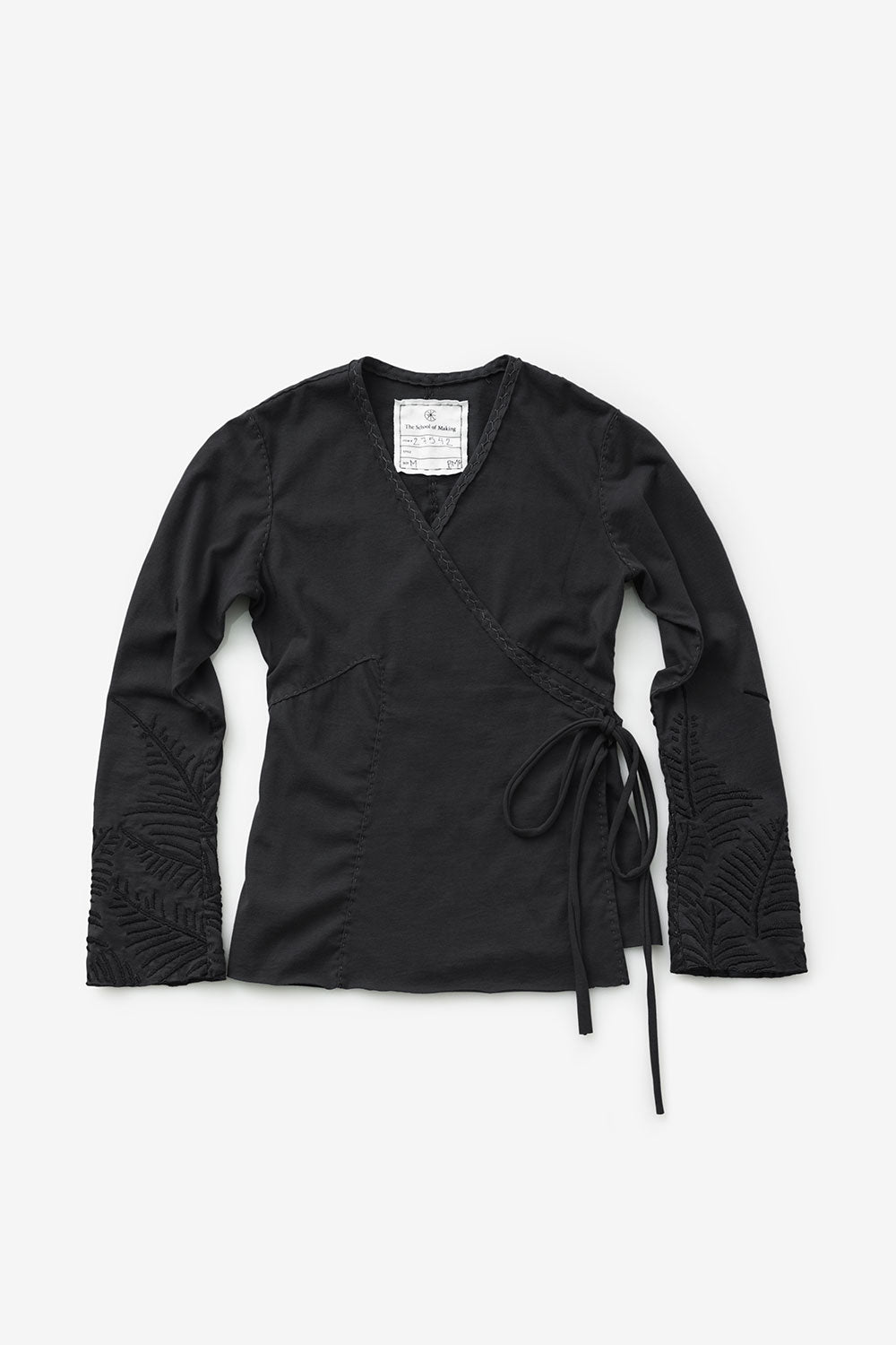 The School of Making DIY Long Sleeves Wrap Top Kit made with Organic Cotton Black