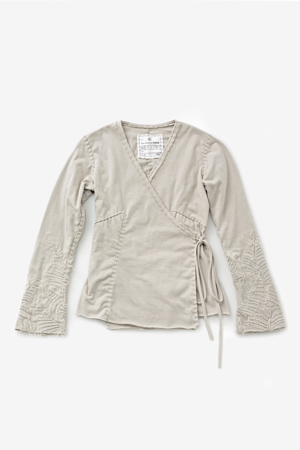 The School of Making Organic Cotton Wrap Top DIY Kit Long Sleeves Tan