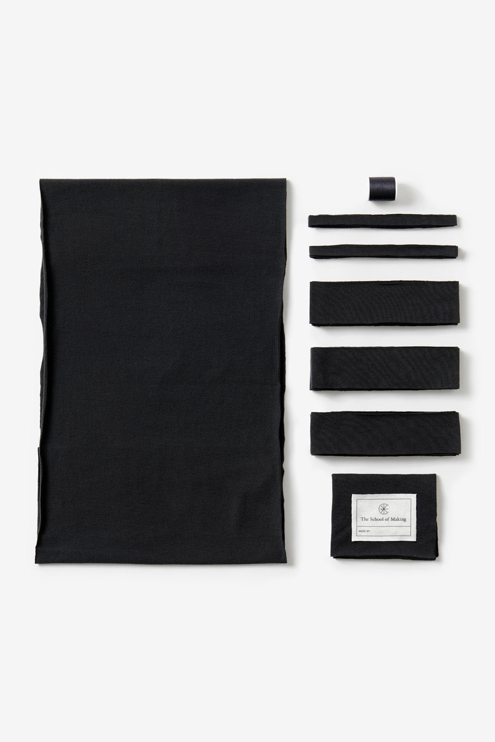 The School of Making Ruffle Scarf Kit in Black DIY Kit Contents