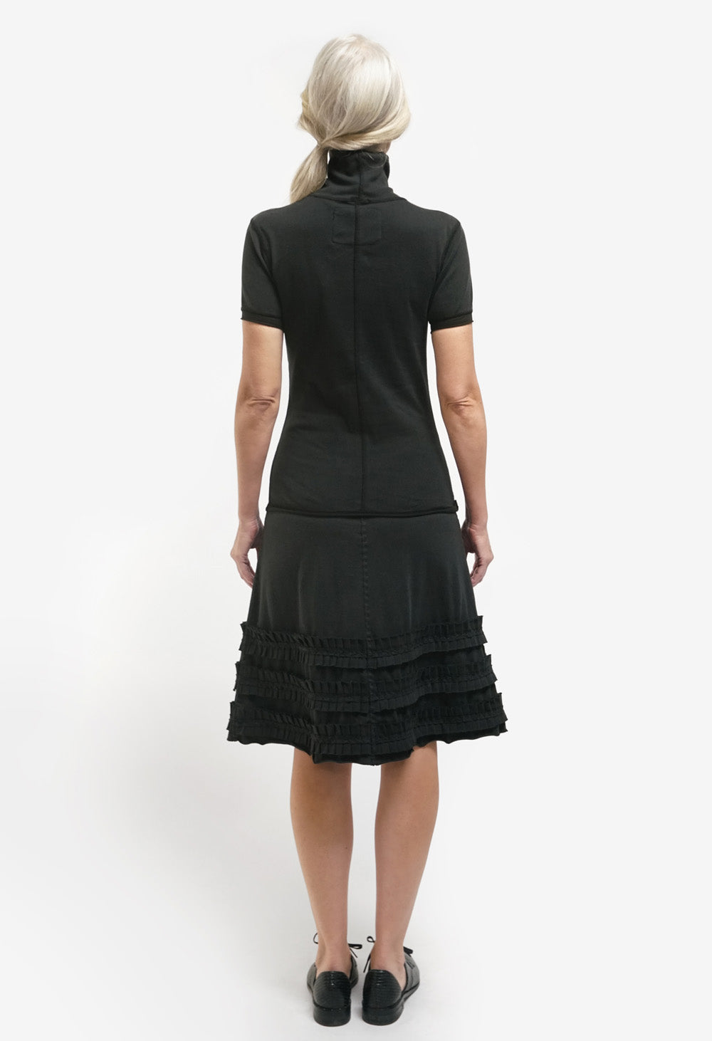 the school of making organic cotton black ruffle skirt kit styled on model
