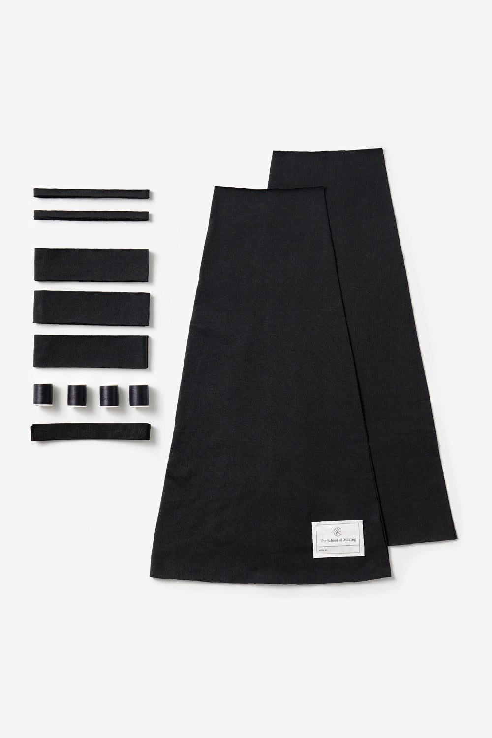 the school of making black handsewn ruffle skirt kit contents