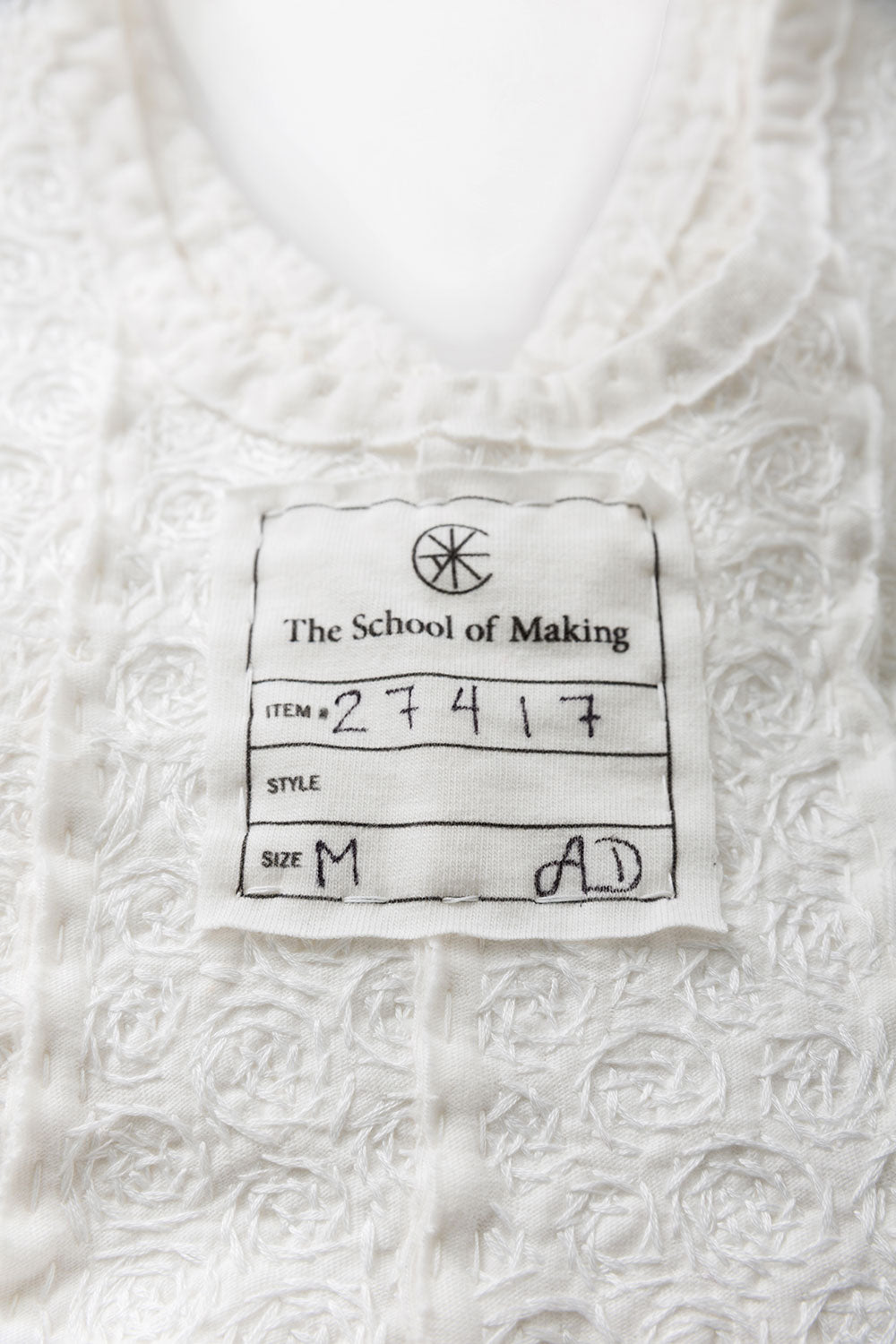 The School of Making Spiral Stencil Artwork Organic Cotton Tank Top with Hand-Sewn Spiral