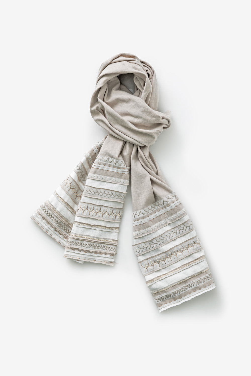 The School of Making Organic Cotton Stripe Scarf Kit Sand Natural