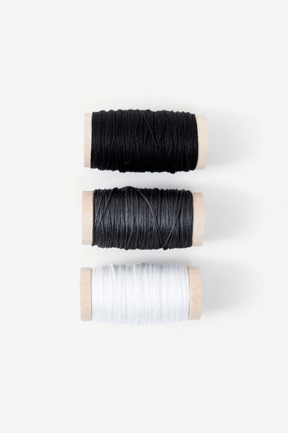 The School of Making Swatch of the Month Organically Dyed Embroidery Floss in Black, Grey and White
